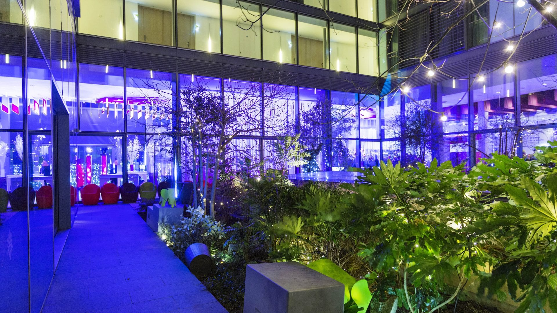 inner courtyard for a corporate party in the gibson hotel dublin