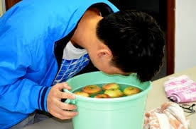 Apple bobbing for halloween