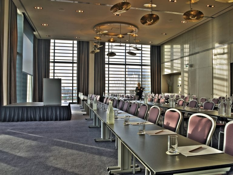 Stratocaster meeting space set up classroom style in the gibson hotel dublin