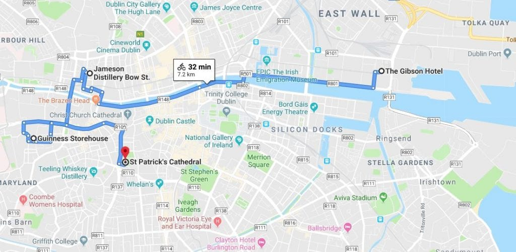 Cycle route to city attractions