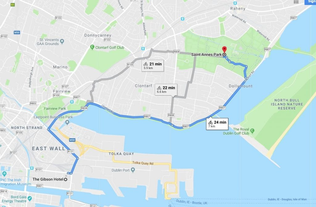 Cycle route to st Anne's Park