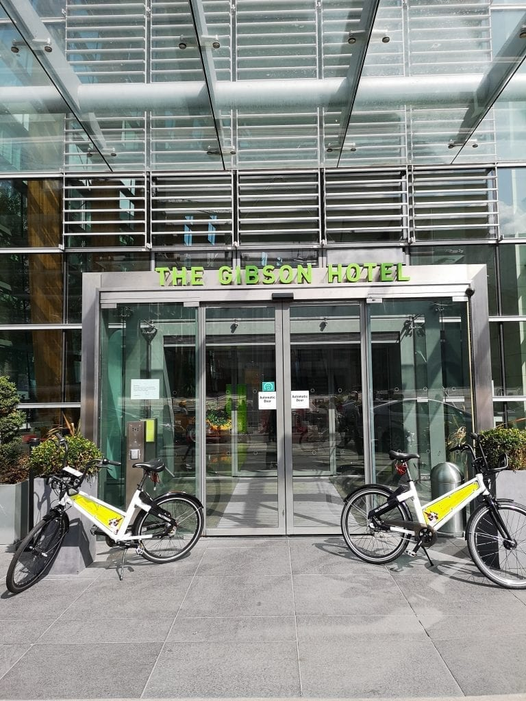 complimentary bikes at the gibson hotel