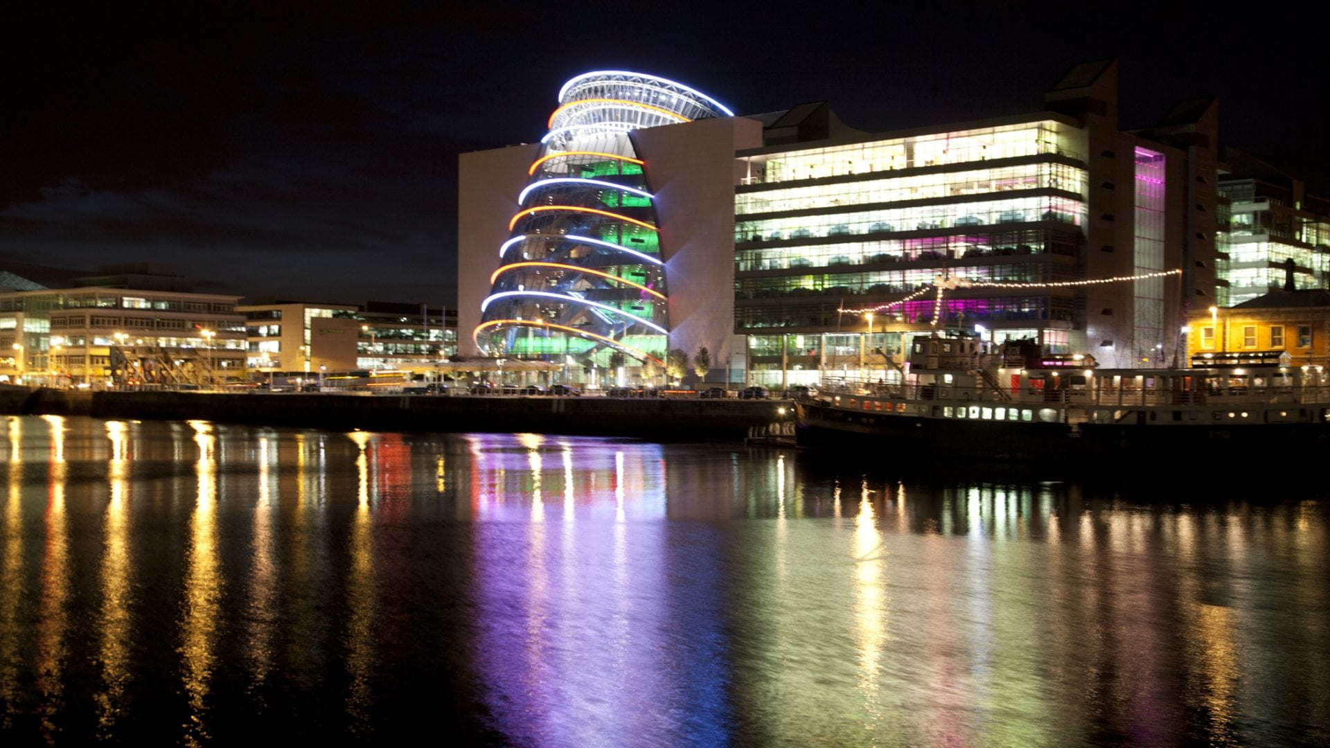 a night view of the convention centre dublin
